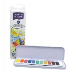 Набор акварельных красок ACADEMY в металле, 12 цветов + кисть