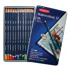 Акварельные карандаши Derwent Watercolour, 12 шт., металл