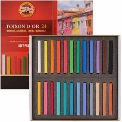 Набор сухой мягкой пастели Koh-i-noor Toison d'or Soft, 24 прямоугольных мелка