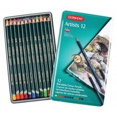 Цветные карандаши Derwent Artists, 12 шт., металл