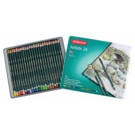 Цветные карандаши Derwent Artists, 24 шт., металлическая упаковка