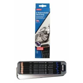 Набор чернографитных водорастворимых карандашей Sketching, 6 шт. + точилка, металлическая упаковка