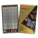 Набор цветных карандашей Derwent Metallic, 12 цветов