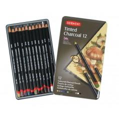 Набор цветных угольных карандашей Derwent Tinted Charcoal, 12 цветов, металлическая упаковка