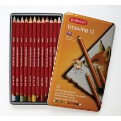 Набор цветных карандашей Derwent Drawing, 12 цветов, металлическая упаковка