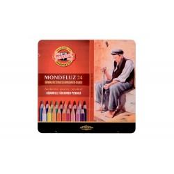 Набор акварельных карандашей Mondeluz, 24 цвета, металл