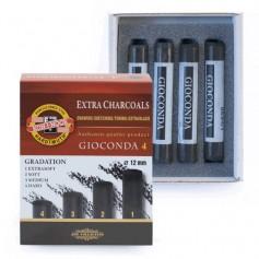 Уголь прессованный Koh-I-Noor Gioconda Extra Charcoal, 4 шт.