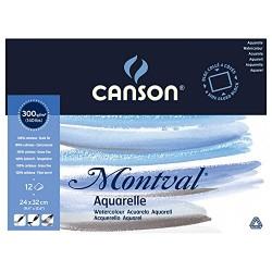 Блок для акварели Canson Montval Фин 24x32 см., 12 л., 300 г/м2, склейка по 4 сторонам