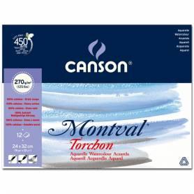Альбом для акварели Canson Montval Снежное зерно 24x32 см., 12 л., 270г/м2, склейка по короткой стороне