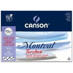 Альбом для акварели Canson Montval Снежное зерно 29.7x40 см., 12 л., 270г/м2, склейка по короткой стороне