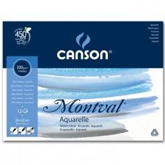 Альбом для акварели Canson Montval Фин 24x32 см., 12 л., 300 г/м2, склейка по короткой стороне