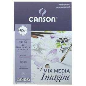 Альбом для смешанных техник Canson Imagine, 21х29.7 см., 50 л., 200 г/м2, мелкое зерно, склейка по верхней стороне