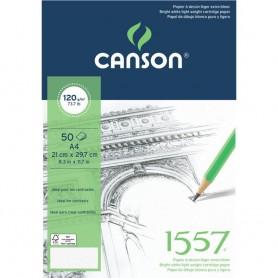 Альбом для графики Canson 1557, 21х29.7 см., 120 г/м2, 50 л., склейка по короткой стороне