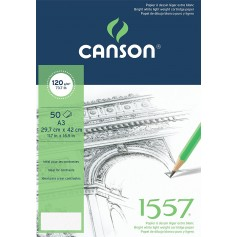 Альбом для графики Canson 1557, 29.7х42 см., 120 г/м2, 50 л., склейка по короткой стороне