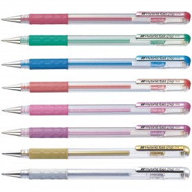 Гелевые ручки Pentel Hybrid Gel Grip Metallic, 0.8 мм.