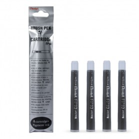 Картридж для ручек Pentel Pocket Brush Pen GFKP3-A/GFKPF-A, черный цвет, 4 шт.