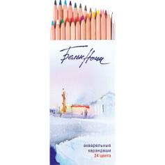 Набор акварельных карандашей Белые ночи, 24 цвета +  кисточка, картонная упаковка