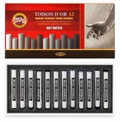 Набор сухой мягкой пастели Koh-i-noor Toison d'or Soft оттенки серого, 12 цветов, круглые мелки