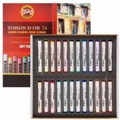 Набор сухой мягкой пастели Koh-i-noor Toison d'or Soft, 24 цвета, круглые мелки