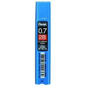 Грифели для механических карандашей Pentel AIN STEIN, 2B, 0,7 мм., 12 шт.