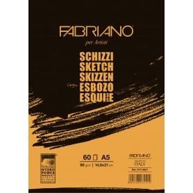 Альбом для рисования Fabriano Schizzi, 14,8x21 см., 60 л., 90 г/м2, склейка по короткой стороне