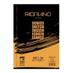 Альбом для рисования Fabriano Schizzi, 21x29,7 см., 120 л., 90 г/м2, склейка по короткой стороне