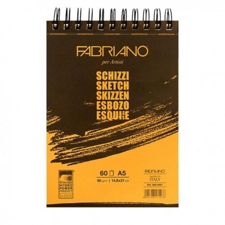 Альбом для рисования Fabriano Schizzi, 14,8x21 см., 60 л., 90 г/м2, спираль по короткой стороне