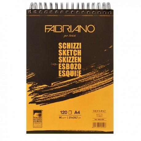 Альбом для рисования Fabriano Schizzi, 21x29,7 см., 120 л., 90 г/м2, спираль по короткой стороне