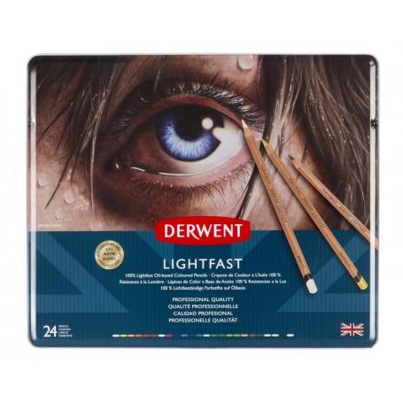 Набор цветных карандашей Derwent Lightfast, 24 цвета, металл