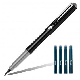 Ручка-кисть Pentel Pocket Brush Pen, серые чернила, 4 картриджа в комплекте