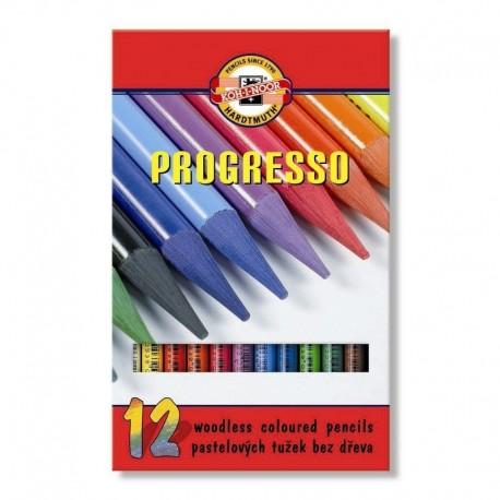 Цельнографитовые цветные карандаши Progresso, 12 цветов, картон