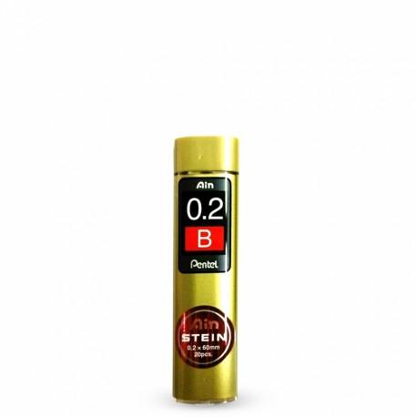 Грифели для механических карандашей Pentel AIN STEIN, B, 0,2 мм., 20 шт.