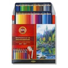 Акварельные цветные карандаши Koh-i-noor Mondeluz, 48 цветов, картон + две кисти и точилка