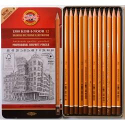Набор чернографитных карандашей Koh-i-noor 1582, 12 шт., 6B - 6H, металл