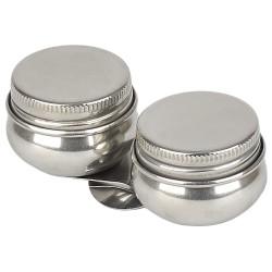 Масленка металлическая двойная с крышкой Сонет