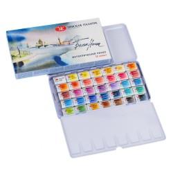 Набор акварельных красок Белые Ночи, 35 кюветов, металлический пенал