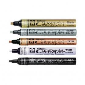 Маркеры для каллиграфии Sakura Pen-Touch Calligrapher, плоский стержень, 5 мм., 5 цветов