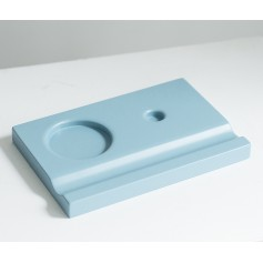 Подставка деревянная под чернильницу и держатель, голубая