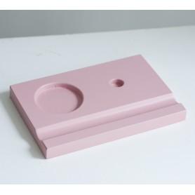 Подставка деревянная под чернильницу и держатель, розовая