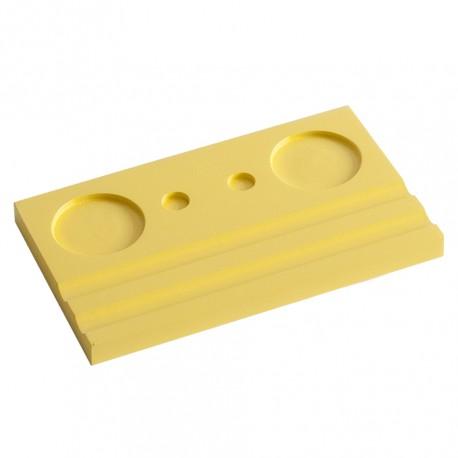 Подставка деревянная двойная под чернильницу и держатель, желтая