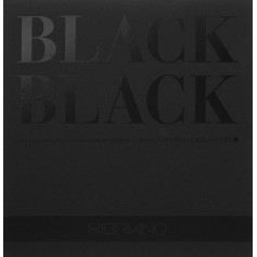 Альбом Fabriano Black Black 20x20 см., 20 л., 300 г/м2., черная бумага