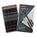 Набор чернографитных карандашей GRAPHIC HARD, 12 шт., B-9H