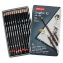Набор чернографитных карандашей Graphic Medium, 12 шт., металлическая упаковка