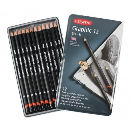 Набор чернографитных карандашей GRAPHIC SOFT , 12 шт., 9B-H