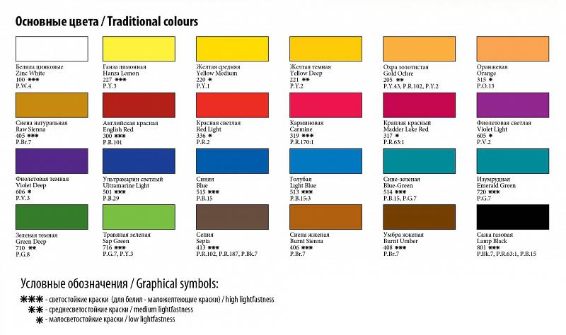 Палитра цветов набор акварели Сонет 24 цвета
